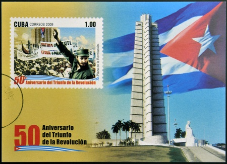 CUBA - CIRCA 2009: A stamp printed in cuba dedicated to 50 anniversary of the triumph of the revolution, shows Fidel Castro in the Revolution Square, circa 2009