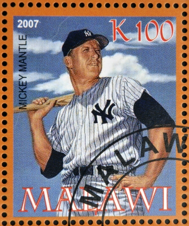 yankees: MALAWI - CIRCA 2007: A stamp printed in Malawi dedicated to greatest baseball players, shows Mickey Mantle, circa 2007