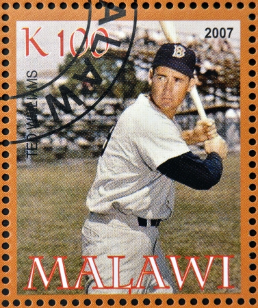 MALAWI - CIRCA 2007: A stamp printed in Malawi dedicated to greatest baseball players, shows Ted Williams, circa 2007  Editorial