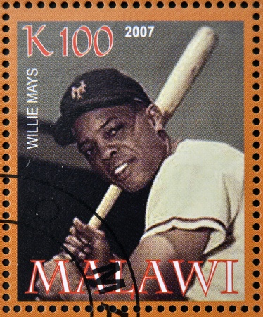 MALAWI - CIRCA 2007: A stamp printed in Malawi dedicated to greatest baseball players, shows Willie Mays, circa 2007
