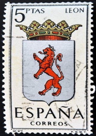 SPAIN - CIRCA 1965: A stamp printed in Spain dedicated to Arms of Provincial Capitals shows Leon, circa 1965.