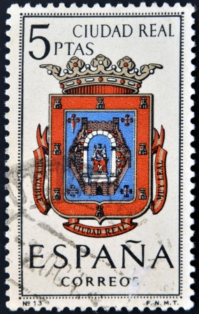 SPAIN - CIRCA 1965: A stamp printed in Spain dedicated to Arms of Provincial Capitals shows Ciudad Real, circa 1965.  Stock Photo - 20552902