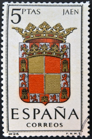 SPAIN - CIRCA 1965: A stamp printed in Spain dedicated to Arms of Provincial Capitals shows Jaen, circa 1965.  Stock Photo - 20552855