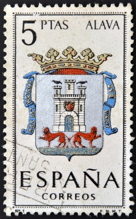 SPAIN - CIRCA 1965: A stamp printed in Spain dedicated to Arms of Provincial Capitals shows Alava, circa 1965.  Stock Photo - 20552899