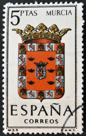 SPAIN - CIRCA 1965: A stamp printed in Spain dedicated to Arms of Provincial Capitals shows Murcia, circa 1965.  Stock Photo - 20552859