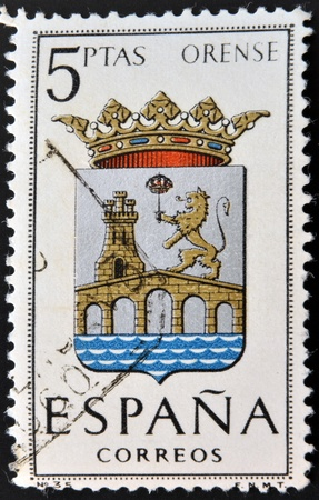 orense: SPAIN - CIRCA 1965: A stamp printed in Spain dedicated to Arms of Provincial Capitals shows Orense, circa 1965.