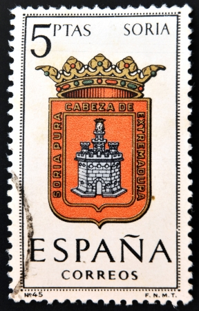 SPAIN - CIRCA 1965: A stamp printed in Spain dedicated to Arms of Provincial Capitals shows Soria, circa 1965.  Stock Photo - 20552875