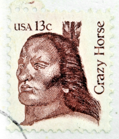 sioux: UNITED STATES OF AMERICA - CIRCA 1982: A stamp printed in USA shows Crazy Horse (1840-1877) an Oglala Lakota Sioux leader, circa 1982.  Editorial