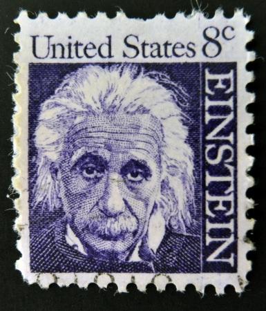 UNITED STATES OF AMERICA - CIRCA 1965: a stamp printed in USA shows Albert Einstein, theoretical physicist who developed the theory of general relativity, circa 1965