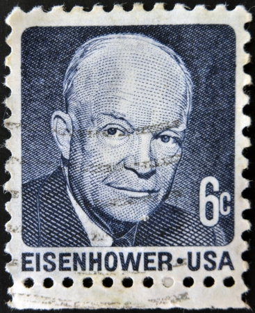 eisenhower: UNITED STATES OF AMERICA - CIRCA 1970: a stamp printed in USA shows Dwight David Eisenhower, President of US, 1953-61, circa 1970  Editorial