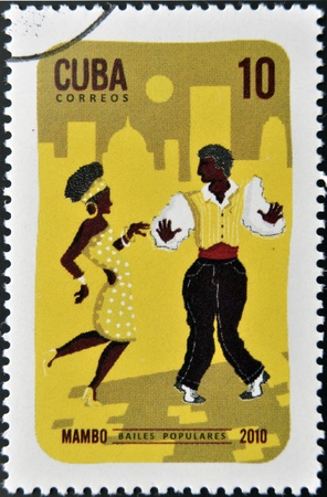 CUBA - CIRCA 2010  A stamp printed in Cuba dedicated to popular dances, shows Mambo dance, circa 2010