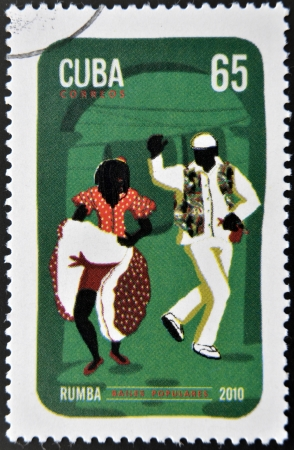 rumba: CUBA - CIRCA 2010  A stamp printed in Cuba dedicated to popular dances, shows rumba dance, circa 2010