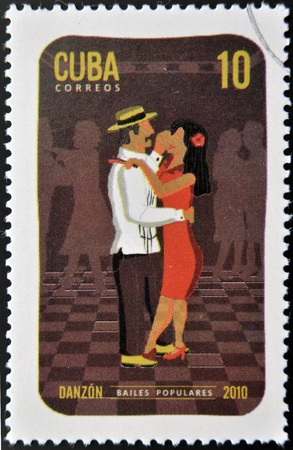 CUBA - CIRCA 2010  A stamp printed in Cuba dedicated to popular dances, shows danzon dance, circa 2010