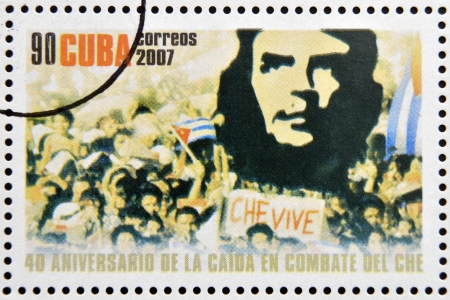 CUBA - CIRCA 2007  Stamp printed in Cuba dedicated to 40th anniversary of the fall in combat of Che, shows demonstration with the image of Che, circa 2007