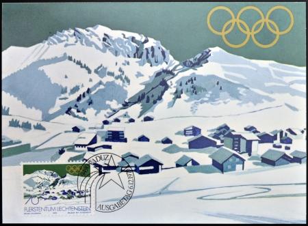 placid: LIECHTENSTEIN - CIRCA 1979  A stamp printed in Liechtenstein dedicated to winter olympics at Lake Placid 1980 shows Malbun with Ochesenkopf  ox head  mountain, circa 1979