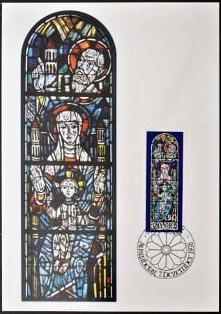 enthroned: LIECHTENSTEIN - CIRCA 1978: Stamp printed in Liechtenstein dedicated to Chruch Windows of Triesenberg, shows enthroned Madonna with St Joseph, Patron Saint of Triesenberg Church, circa 1978