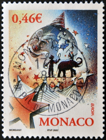 fool moon: MONACO - CIRCA 2002: A stamp printed in Monaco dedicated to the circus, circa 2002