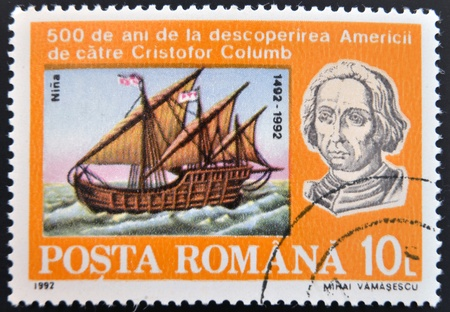ROMANIA - CIRCA 1992: A stamp printed in Romania shows Bust of Columbus and ship La Niña, 500th Anniversary of Discovery of America by Columbus, circa 1992