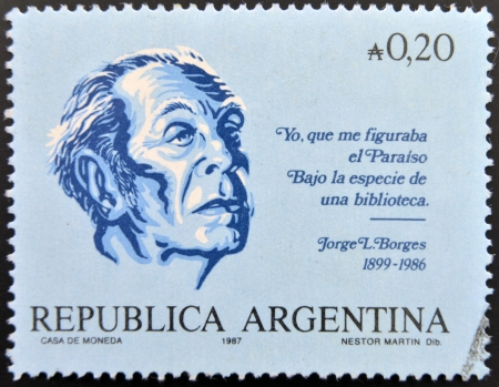 ARGENTINA - CIRCA 1987: A stamp printed in argentina shows Jorge Luis Borges, circa 1987