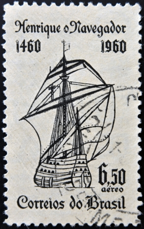 caravel: BRAZIL - CIRCA 1960: A stamp printed in Brazil dedicated to Henry the Navigator shows caravel, circa 1960  Editorial