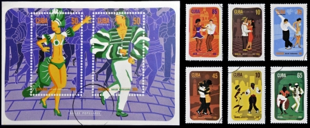 philatelist: KUBA - CIRCA 2010: Ein Stempel in Kuba gedruckt gewidmet Volkst�nzen, circa 2010