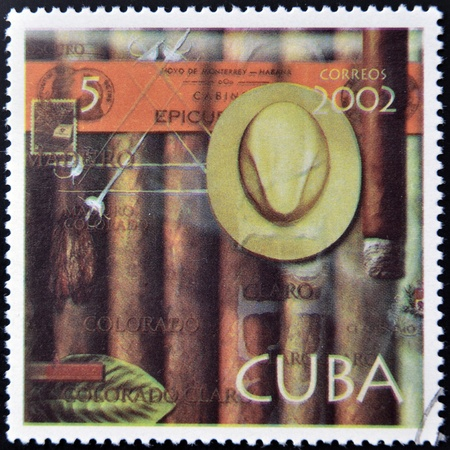 CUBA - CIRCA 2002: A stamp printed in Cuba dedicated to Havana cigars, circa 2002
