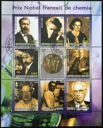 nobel: DJIBOUTI - CIRCA 2009: Collection stamp shows French Nobel chemistry prize, circa 2009