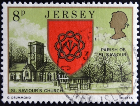 bailiwick: JERSEY - CIRCA 1976: a stamp printed in Jersey shows Arms and St. Saviour´s Church, circa 1976