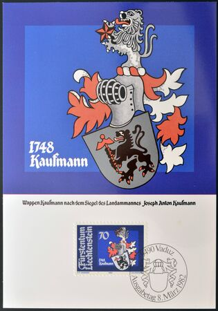 anton: LIECHTENSTEIN - CIRCA 1982: A stamp printed in Liechtenstein  shows Arms of Joseph Anton Kaufmann, circa 1982 Editorial