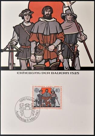 insurrection: LIECHTENSTEIN - CIRCA 1982: A stamp printed in Liechtenstein shows peasants revolt, 1525, circa 1982