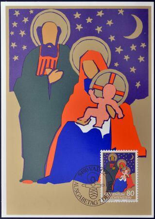 LIECHTENSTEIN - CIRCA 1981: A stamp printed in Liechtenstein shows the holy family, christmas, circa 1981