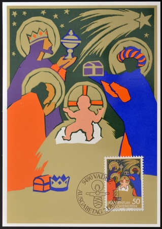 LIECHTENSTEIN - CIRCA 1981: A stamp printed in Liechtenstein shows the magi at the Crib, christmas, circa 1981