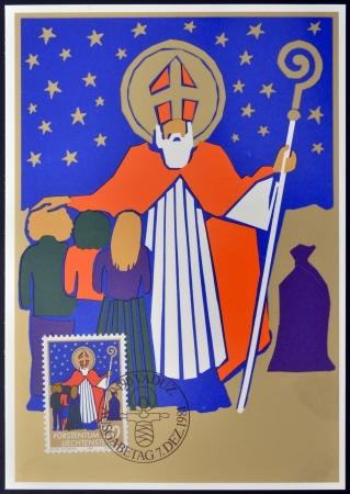 mitre: LIECHTENSTEIN - CIRCA 1981: A stamp printed in Liechtenstein shows Saint Nicholas, christmas, circa 1981 Editorial