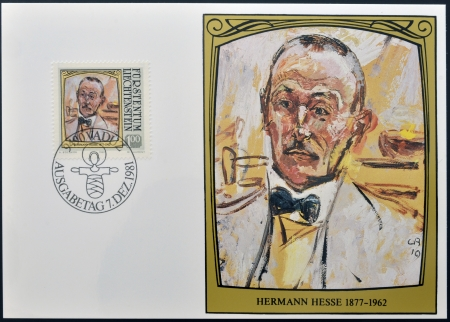 LIECHTENSTEIN - CIRCA 1981: A stamp printed in Liechtenstein dedicated to portraits of famous visitors to Liechtenstein shows Hermann Hesse, circa 1981