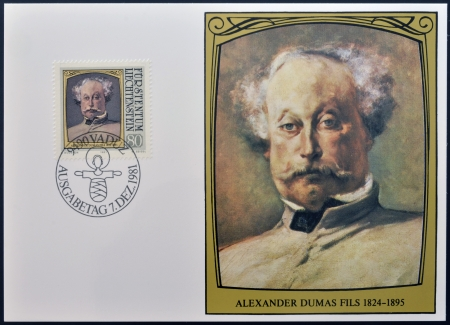 novelist: LIECHTENSTEIN - CIRCA 1981: A stamp printed in Liechtenstein dedicated to portraits of famous visitors to Liechtenstein shows Alexandre Dumas (fils), circa 1981 Editorial