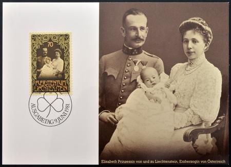 familiy: LIECHTENSTEIN - CIRCA 1981: A stamp printed in Liechtenstein shows Prince Franz Josef with his parents, circa 1981