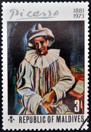 ruiz: REPUBLIC OF MALDIVES - CIRCA 1974: A stamp printed in the Republic of Maldives shows Pierrot by Pablo Ruiz Picasso, circa 1974