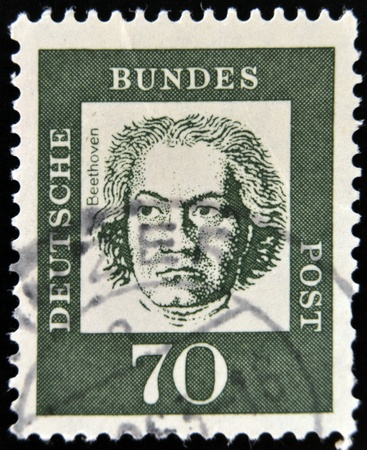 GERMANY - CIRCA 1961: A stamp printed in Germany showing German composer and pianist Ludwig van Beethoven, circa 1961.