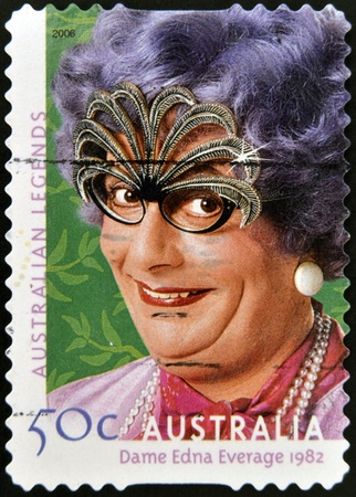 AUSTRALIA - CIRCA 2004: A stamp printed in australia shows Dame Edna Everage, circa 2004