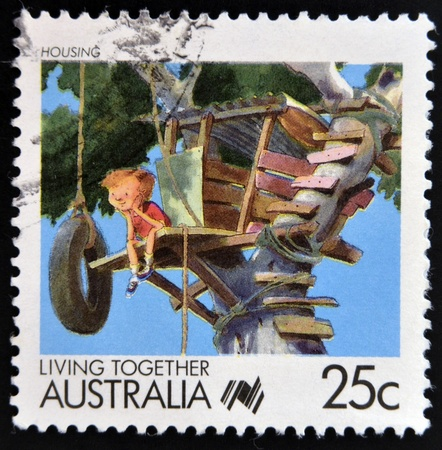 AUSTRALIA - CIRCA 1988: A stamp printed in Australia of the Living Together Australia series shows image of housing, circa 1988  Editorial