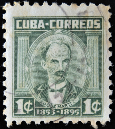 CUBA - CIRCA 1953: A stamp printed in Cuba shows portrait of poet and revolutionary Jose Marti (1853-1895), circa 1953