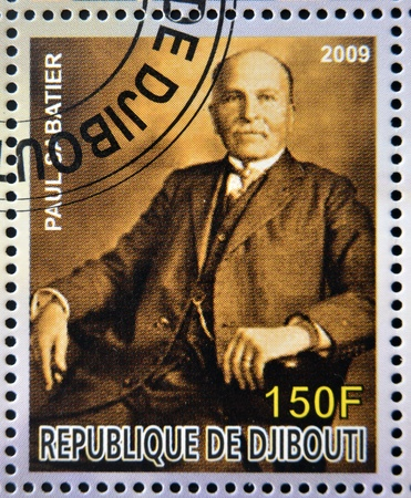 nobel: DJIBOUTI - CIRCA 2009: stamp dedicated to French Nobel chemistry prize shows  Paul Dabatier, circa 2009