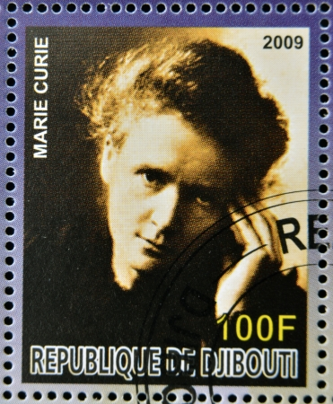 nobel: DJIBOUTI - CIRCA 2009: stamp dedicated to French Nobel chemistry prize shows Marie Curie, circa 2009