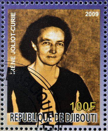 nobel: DJIBOUTI - CIRCA 2009: stamp dedicated to French Nobel chemistry prize shows  Irene Joliot Curie, circa 2009  Editorial