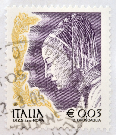 ITALY - CIRCA 2002: stamp printed in Italy shows Queen of Sheba from The Meeting of King Solomon and the Queen of Sheba by Piero della Francesa, circa 2002