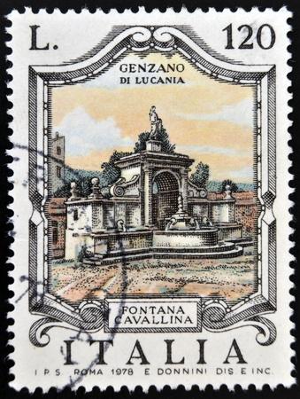 lucania: ITALY - CIRCA 1978: a stamp printed in Italy shows Cavallina Fountain, Genzano di Lucania, circa 1978  Editorial