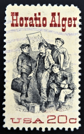 alger: UNITED STATES OF AMERICA - CIRCA 1982: A stamp printed in USA shows Frontispiece from Ragged Dick, by Horatio Alger, american Author, circa 1982