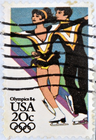 usps: UNITED STATES OF AMERICA - CIRCA 1984: A stamp printed in USA shows Figure Skating, dedicated to the Olympics 84, circa 1984  Editorial