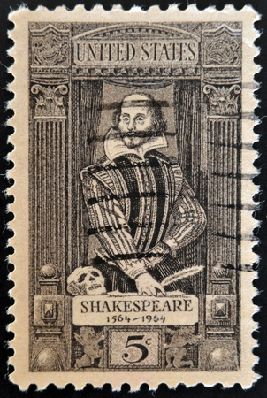 UNITED STATES OF AMERICA - CIRCA 1964:  stamp printed in USA shows a portrait of William Shakespeare. 400th anniversary of the birth of Shakespeare, circa 1964  Stock Photo - 21273632