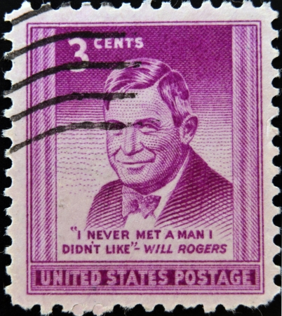 william penn: UNITED STATES OF AMERICA - CIRCA 1948 - A stamp printed in USA showing William Penn Adair Will Rogers, I never met a man I didn´t like, circa 1948 Editorial
